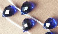 Fac Teardrop Saphire Blue Quartz Bead String