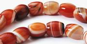 Jumbo Sardonyx Agate Barrel Beads - Heavy!
