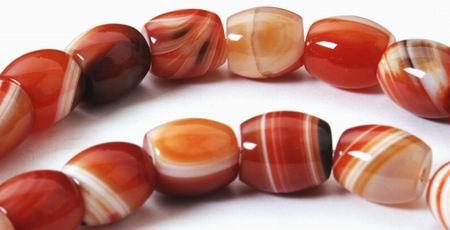 Jumbo Sardonyx Agate Barrel Beads - Heavy!