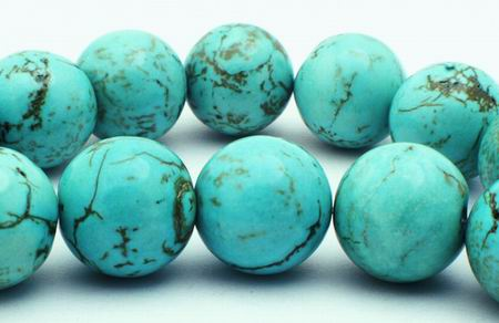 Large 14mm Spider Vein Blue Turquoise Beads: MrBead