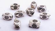 50 Dotted Octagon Bead Spacers - 925