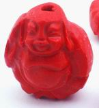 4 Unusual Hot  Red Carved Cinnabar Buddha Beads