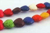 Colorful Rainbow Turquoise Heart Beads