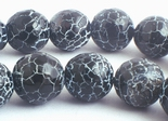 Striking Devil-Black Web Agate Beads - Large 10mm