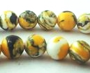 Distinctive Summer Yellow & Black 6mm Calsilica Beads