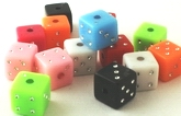 50 Colourful Dice Cube Pony Beads - 7mm