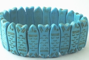 Lucky Carved Chinese Blue Fish Turquoise Bracelet