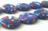 20 Large 20mm Deep-Blue Calsilica Button Beads