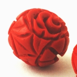 2 Deep-Red 12mm Carved Cinnabar Beads