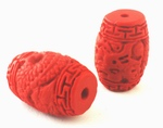 4 Fire Engine-Red Cinnabar Dragon Barrel Beads