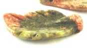 4 Unusual Carved Unakite Leaf Beads - Top Drill